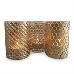 Tealight Set Gold406-1 2 3
